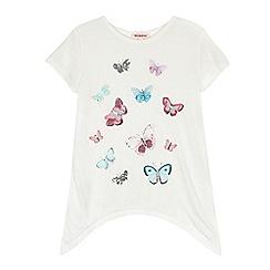 bluezoo - Girls' white butterfly print t-shirt