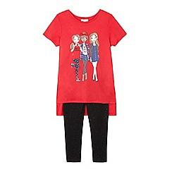 bluezoo - Girls' red girl print tunic and leggings