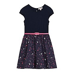 bluezoo - Girls' navy unicorn print belted dress