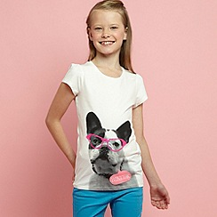 bluezoo - Girls off white dog in glasses tee