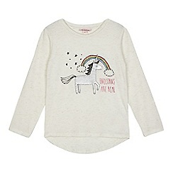 bluezoo - Girls' cream 'Unicorns are real' print top