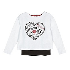 bluezoo - Girls' white city print cropped sweater and vest set