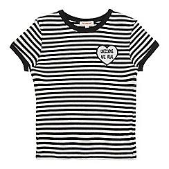 bluezoo - Girls' black striped 'Unicorns are real' slogan t-shirt