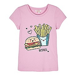 bluezoo - Girls' lilac burger and chips print t-shirt