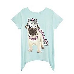 bluezoo - Girls' light green pug dinosaur print top