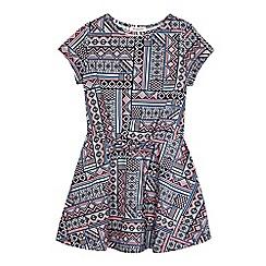 bluezoo - Girls' multi-coloured Aztec print front waist dress