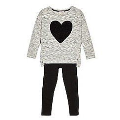 bluezoo - Girls' grey two-way sequinned heart top and leggings