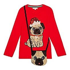 bluezoo - Girls' red pug top and bag