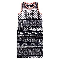 bluezoo - Girls' navy tiled print dress