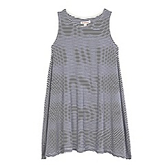 bluezoo - Girls' white and navy striped print trapeze dress