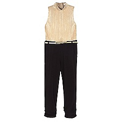 bluezoo - Girls' black and gold belted jumpsuit