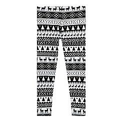 bluezoo - Girls' black and white reindeer pattern leggings