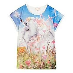 bluezoo - Girls' multi-coloured unicorn print t-shirt