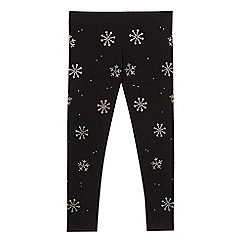 bluezoo - Girls' black diamante snowflake leggings
