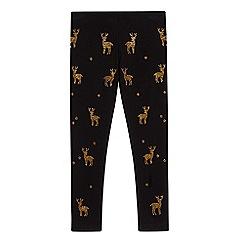 bluezoo - Girls' black studded reindeer leggings