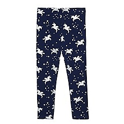 bluezoo - Girls' navy sparkle unicorn print leggings