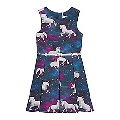 bluezoo - Girls' blue unicorn print dress and belt