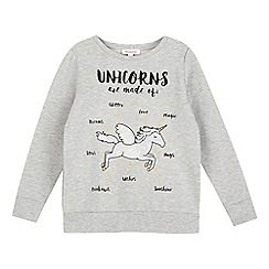 bluezoo - Girls' grey unicorn print jumper