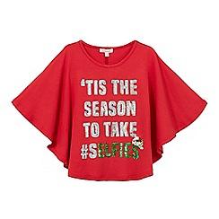bluezoo - Girls' red ''Tis the season' slogan print cape