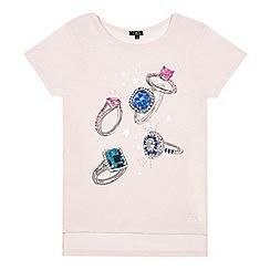 Star by Julien Macdonald - Girls' pink gem rings print t-shirt