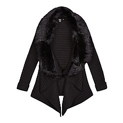 Star by Julien Macdonald - Girls' black faux fur collar waterfall cardigan