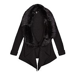 Star by Julien Macdonald - Girls' black faux fur collar waterfall cardigan