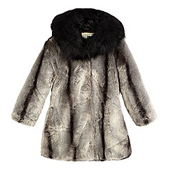 Star by Julien Macdonald - Girls' dark grey hooded faux fur coat