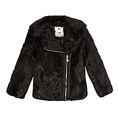 Star by Julien Macdonald - Girls' black faux fur biker jacket