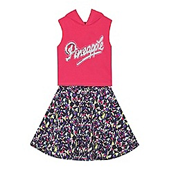 Pineapple - Girls' multi-coloured printed dress and pink logo hooded crop top set