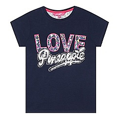 Pineapple - Girls' navy 'Love Pineapple' sequin embellished t-shirt