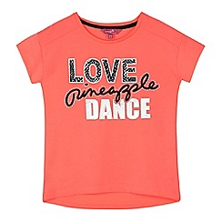 Pineapple - Girls' coral 'Love Pineapple dance' print t-shirt