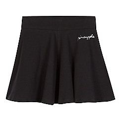 Pineapple - Girls' black logo print skater skirt