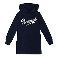 Pineapple - Girls' navy sequin logo sweater dress