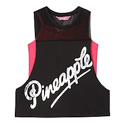 Pineapple - Girls' black and pink mesh logo print vest