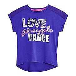 Pineapple - Girls' purple logo print mesh shoulder t-shirt