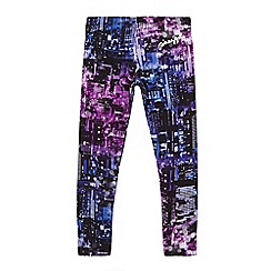 Pineapple - Girls' purple and black city scape print leggings