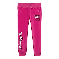 Pineapple - Girls' pink diamante logo jogging bottoms