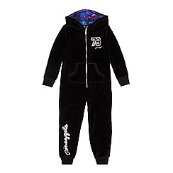 Pineapple - Girls' black velour stone studded onesie