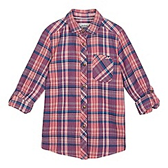 Mantaray - Girls' pink and purple checked print shirt
