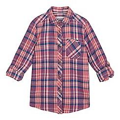 Mantaray - Girls' pink and purple checked print shirt