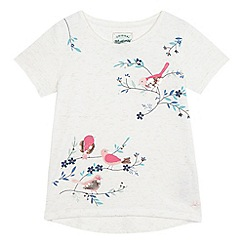 Mantaray - Girls' off white bird print t-shirt