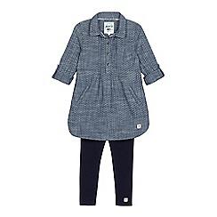 Mantaray - Girls' blue denim shirt dress and leggings set