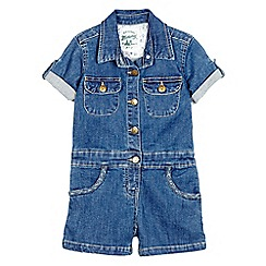 Mantaray - Girls' blue denim playsuit