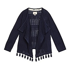 Mantaray - Girls' navy waterfall cardigan