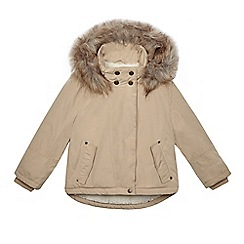 Mantaray - Girls' dark cream faux fur trim parka coat