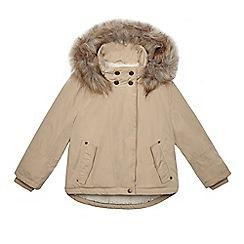 Mantaray - Girls' dark cream faux fur trim parka coat