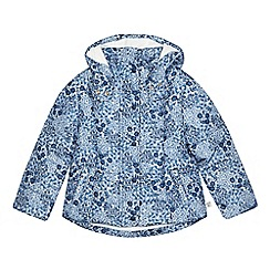 Mantaray - Girls' blue floral print padded hooded coat