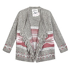 Mantaray - Girls' grey intarsia patterned cardigan