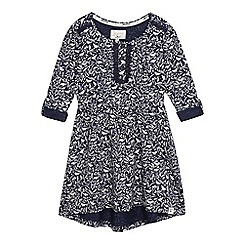 Mantaray - Girls' navy bird print dress