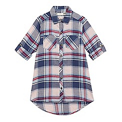 Mantaray - Girls' blue checked print longline shirt